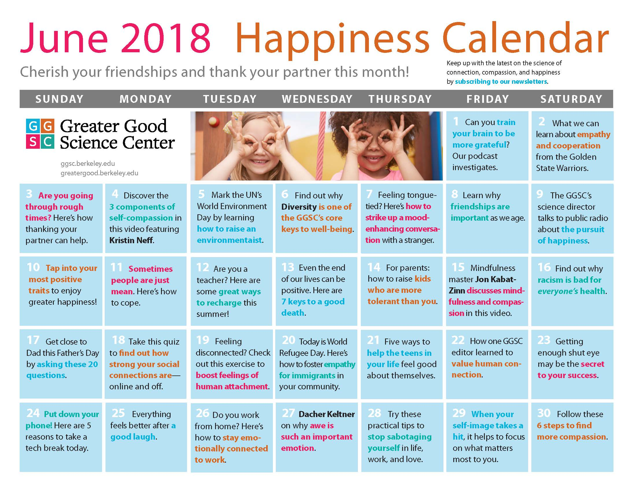 June Happiness Calendar