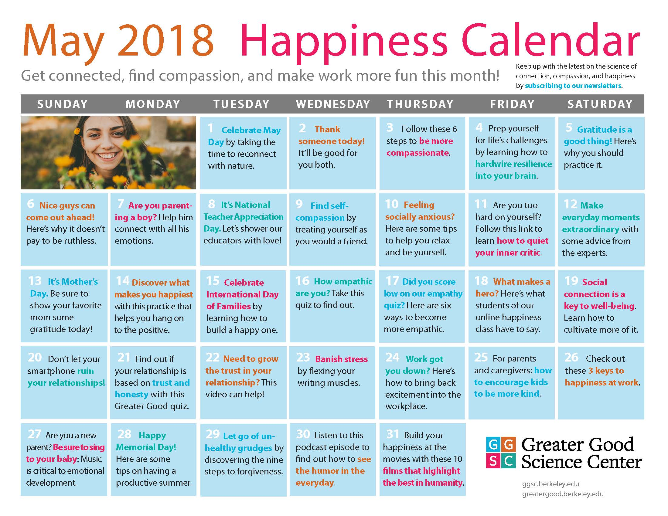 May Happiness Calendar
