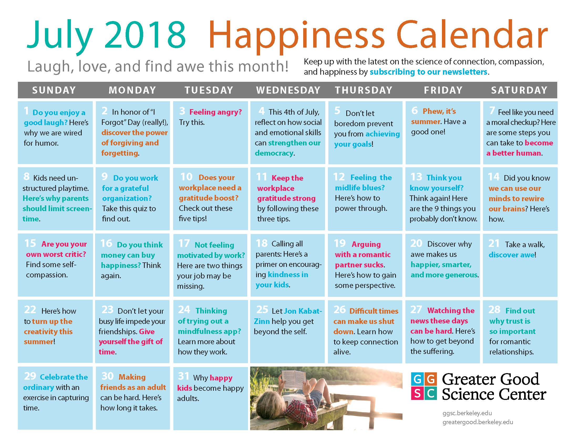 July Happiness Calendar