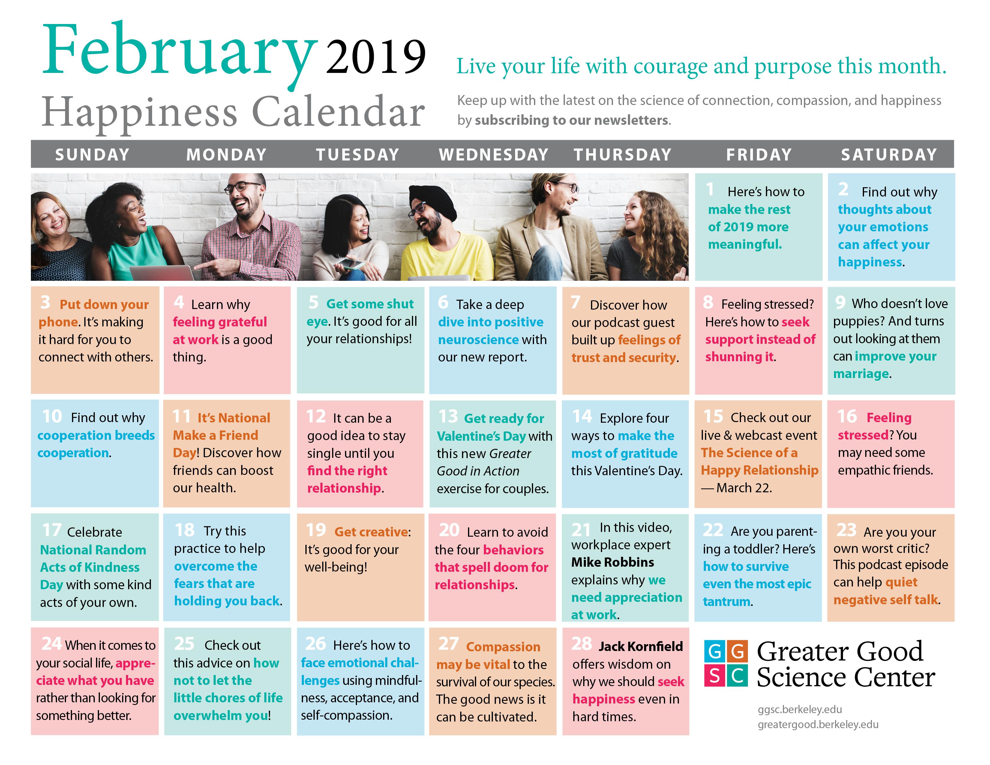 February Happiness Calendar